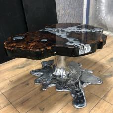 Журнальный стол Alumino из слэба карагача с алюминиевым литьем