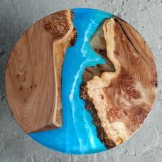 Журнальный стол река Oceanos из капового карагача с голубой заливкой