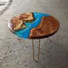 Журнальный стол Oceanos из капового карагача с голубой заливкой