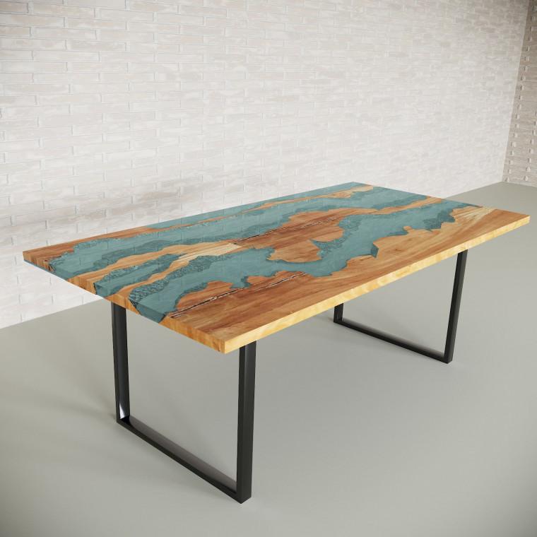 Обеденный стол река из слэбов клена Welfoo C05