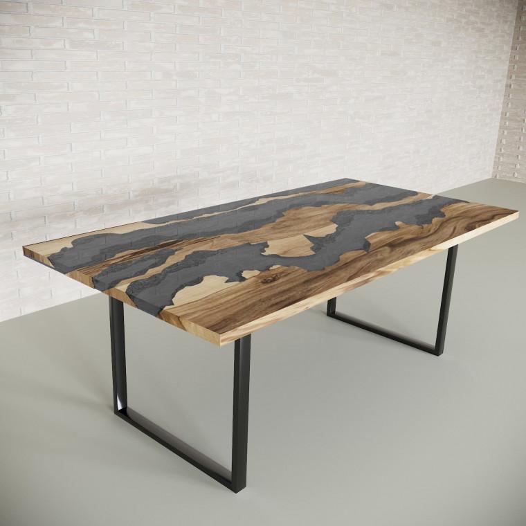 Обеденный стол река из слэбов граба Welfoo C10