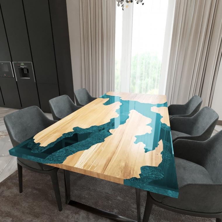 Обеденный стол река из слэбов клена Merchaella C05