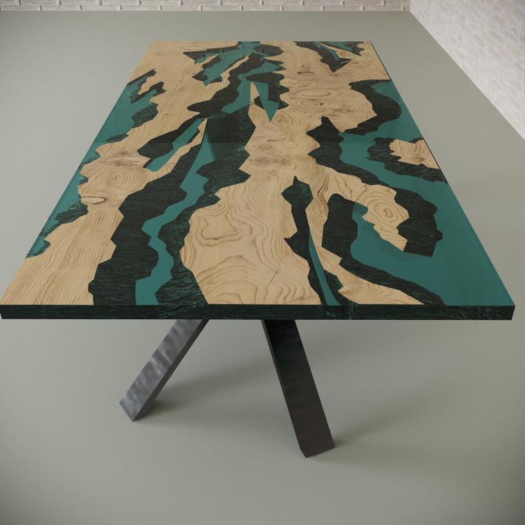 Обеденный стол река из слэбов дуба Villors C05