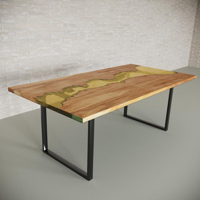 Обеденный стол река из слэбов клена Maessy C09