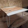 Журнальный стол Biano из слэба дуба с белой заливкой
