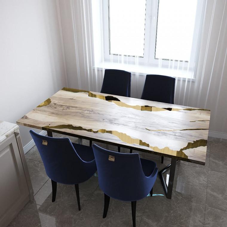 Обеденный стол река из слэбов граба Callema C09