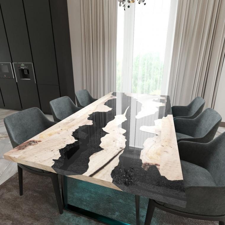 Обеденный стол река из слэбов карагача Argentre C10