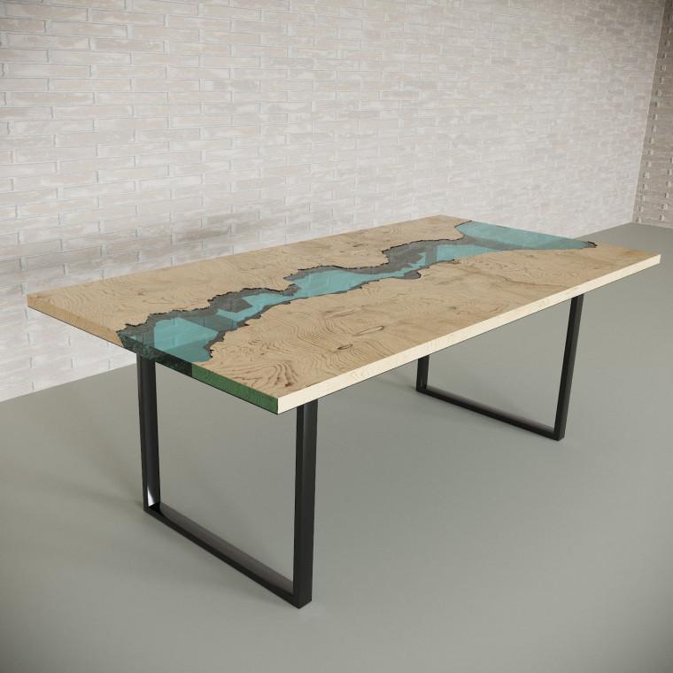 Обеденный стол река из слэбов дуба Maessy C05