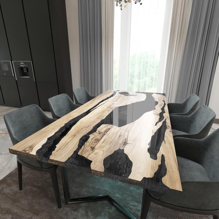 Обеденный стол река из слэбов граба Lifense C10