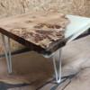 Журнальный стол Sabbi из слэба карагача с белой заливкой