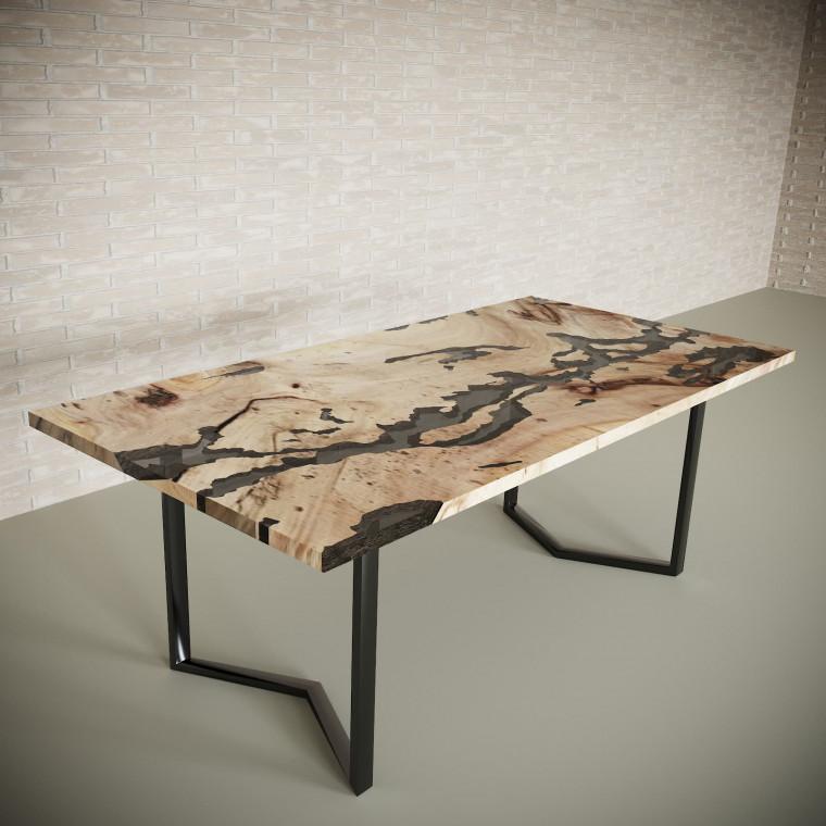 Обеденный стол река из слэбов карагача Omerroon C10