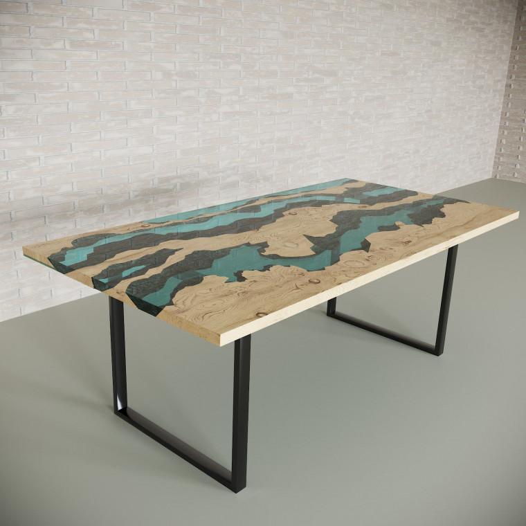 Обеденный стол река из слэбов дуба Welfoo C05