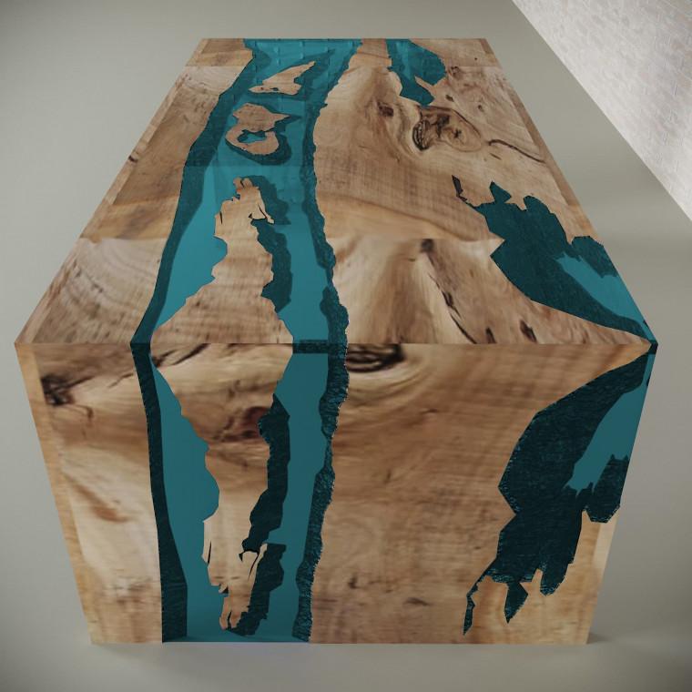 Обеденный стол река из слэбов карагача Farsaw C05