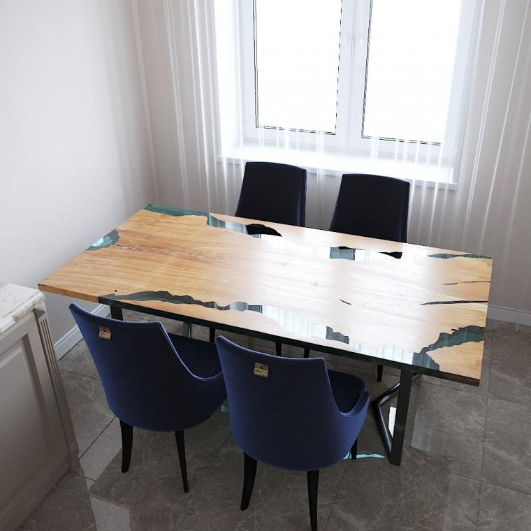 Обеденный стол река из слэбов клена Callema C05