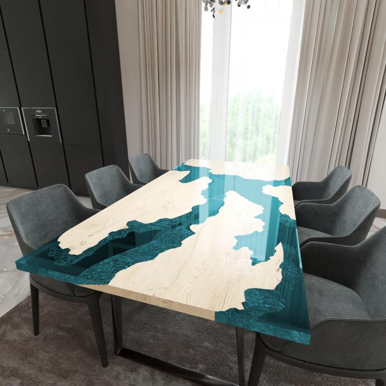 Обеденный стол река из слэбов дуба Merchaella C05