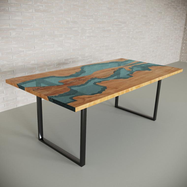 Обеденный стол река из слэбов клена Giveney C05