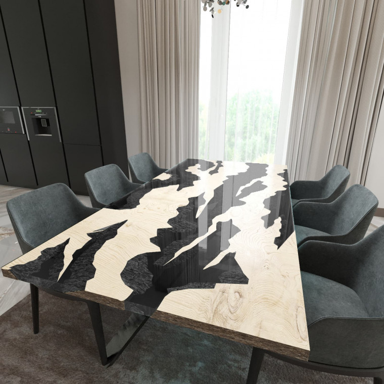 Обеденный стол река из слэбов дуба Villors C10