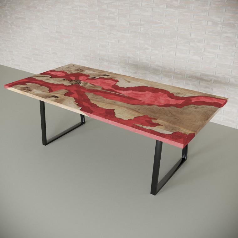 Обеденный стол река из слэбов карагача Argentre C11