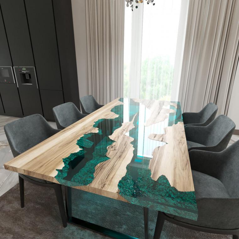 Обеденный стол река из слэбов граба Argentre C05