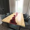 Обеденный стол река из слэбов клена Maessy C11