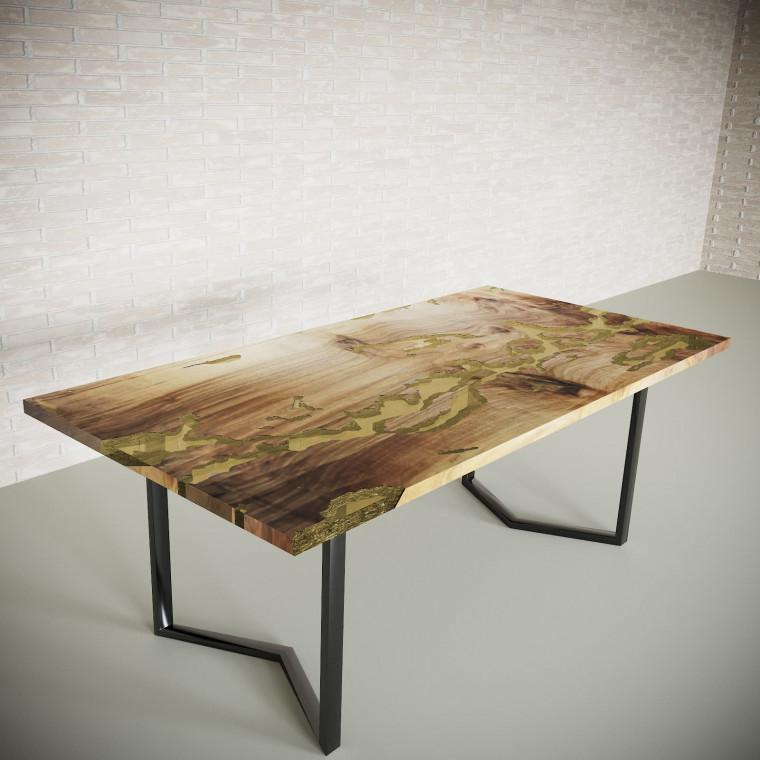 Обеденный стол река из слэбов граба Omerroon C09