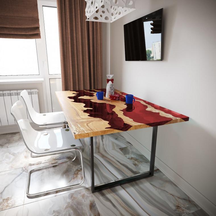 Обеденный стол река из слэбов клена Welfoo C11