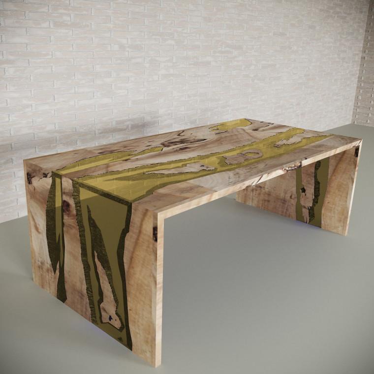 Обеденный стол река из слэбов карагача Farsaw C09
