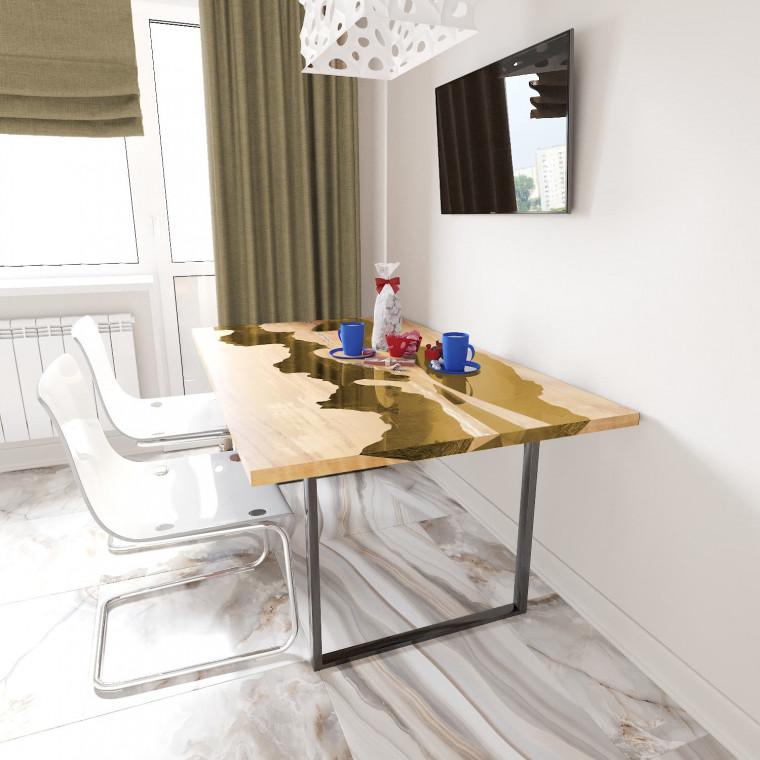 Обеденный стол река из слэбов клена Giveney C09