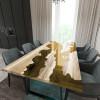 Обеденный стол река из слэбов граба Argentre C09