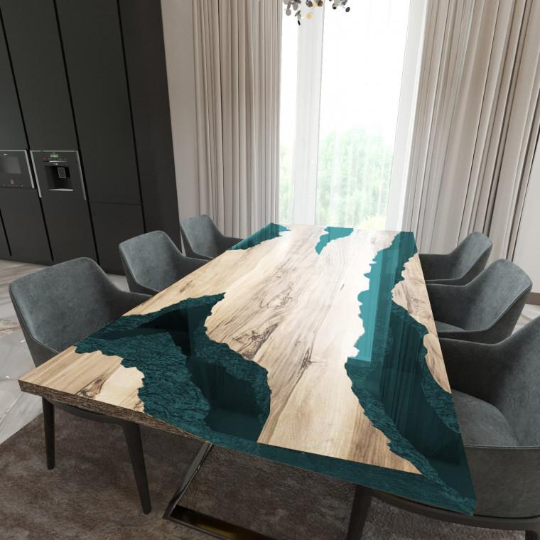 Обеденный стол река из слэбов граба Neila C05