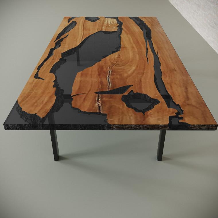 Обеденный стол река из слэбов клена Lifense C10