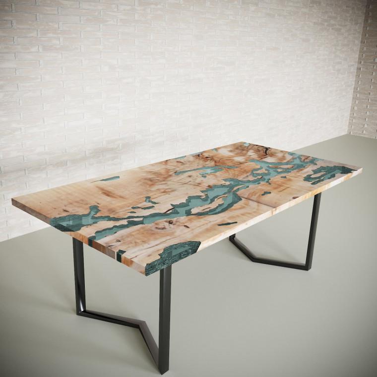 Обеденный стол река из слэбов клена Omerroon C05