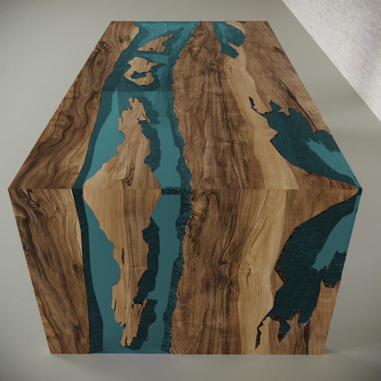 Обеденный стол река из слэбов граба Farsaw C05