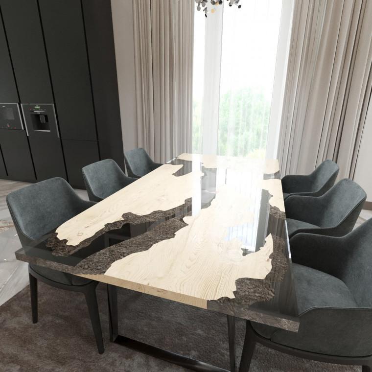 Обеденный стол река из слэбов дуба Merchaella C10