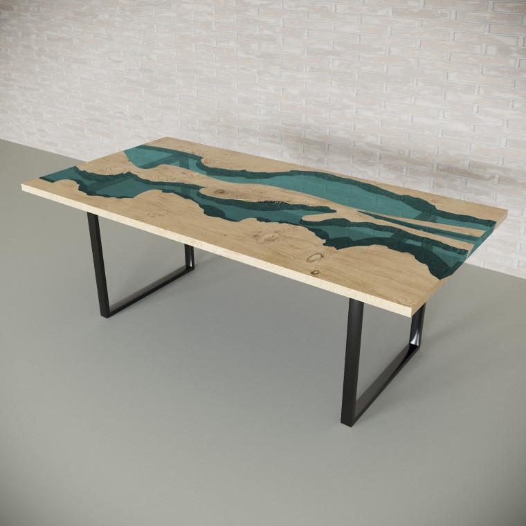 Обеденный стол река из слэбов дуба Giveney C05