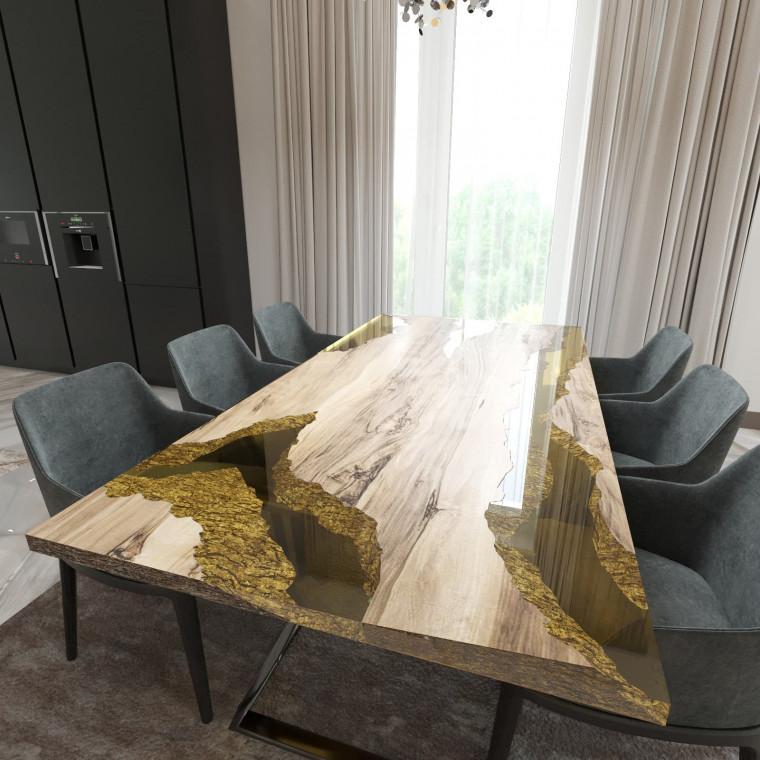 Обеденный стол река из слэбов граба Neila C09