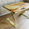 Обеденный стол река Amberry Duo из шелковицы с заливкой из смолы янтарного цвета