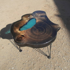 Журнальный стол река Picas из поперечного спила тополя