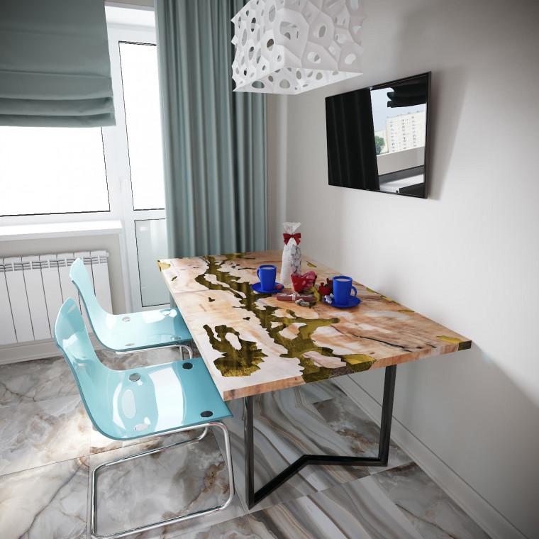 Обеденный стол река из слэбов клена Omerroon C09