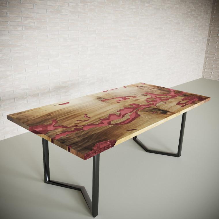Обеденный стол река из слэбов граба Omerroon C11