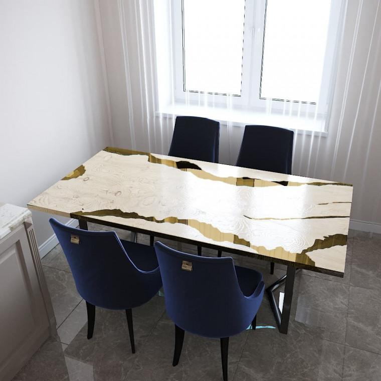 Обеденный стол река из слэбов дуба Callema C09