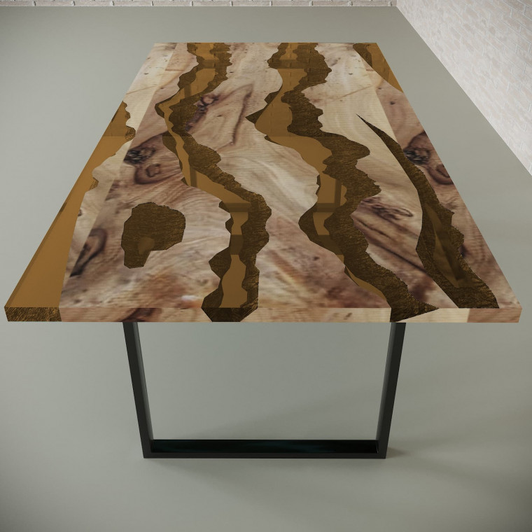 Обеденный стол река из слэбов карагача Alliano C09