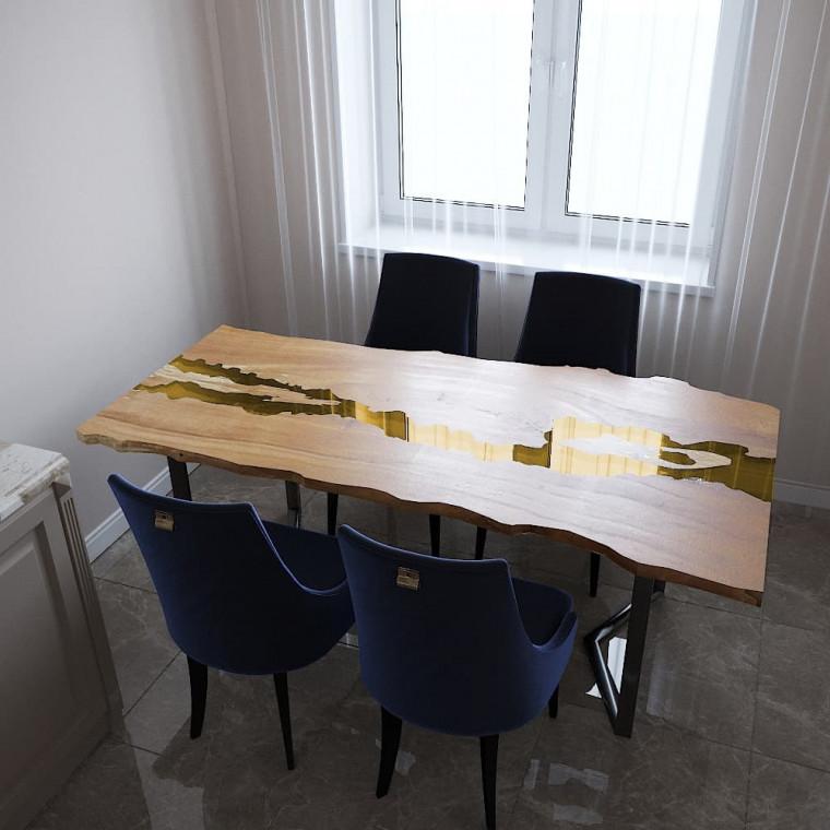 Обеденный стол река из слэбов клена Madria C09