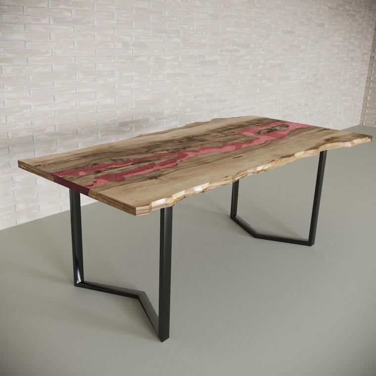 Обеденный стол река из слэбов граба Madria C11