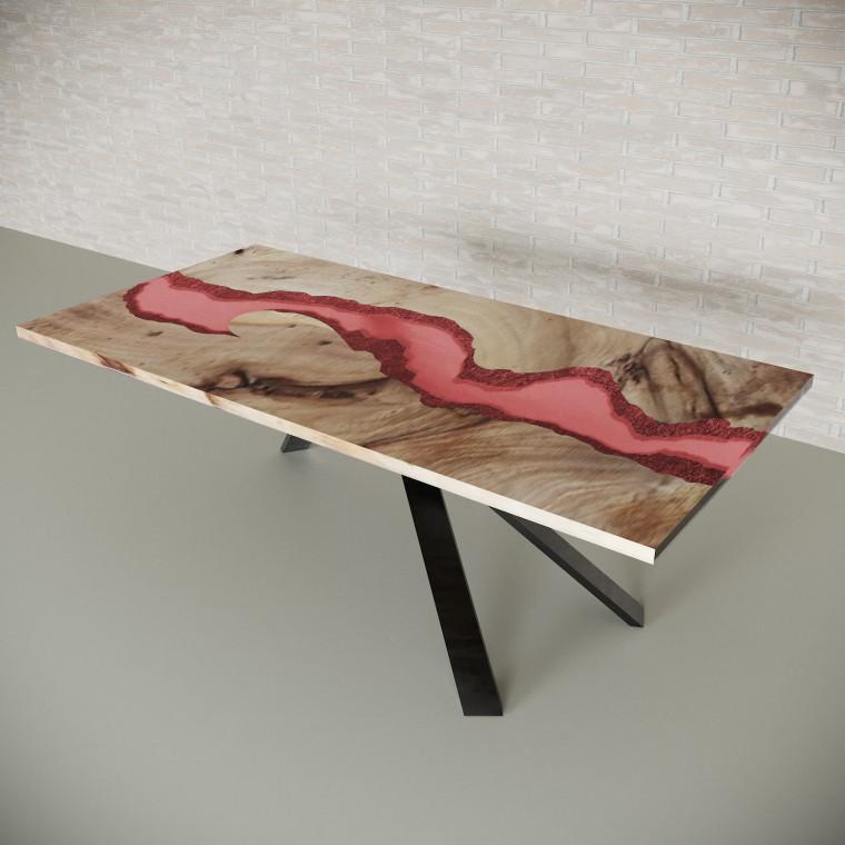 Обеденный стол река из слэбов карагача Ivars C11