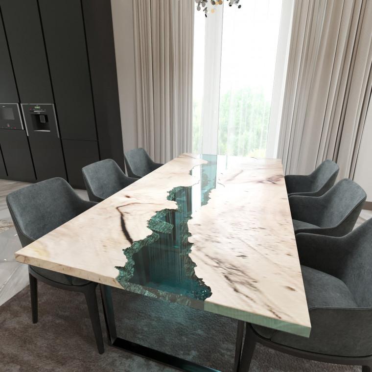 Обеденный стол река из слэбов карагача Maessy C05