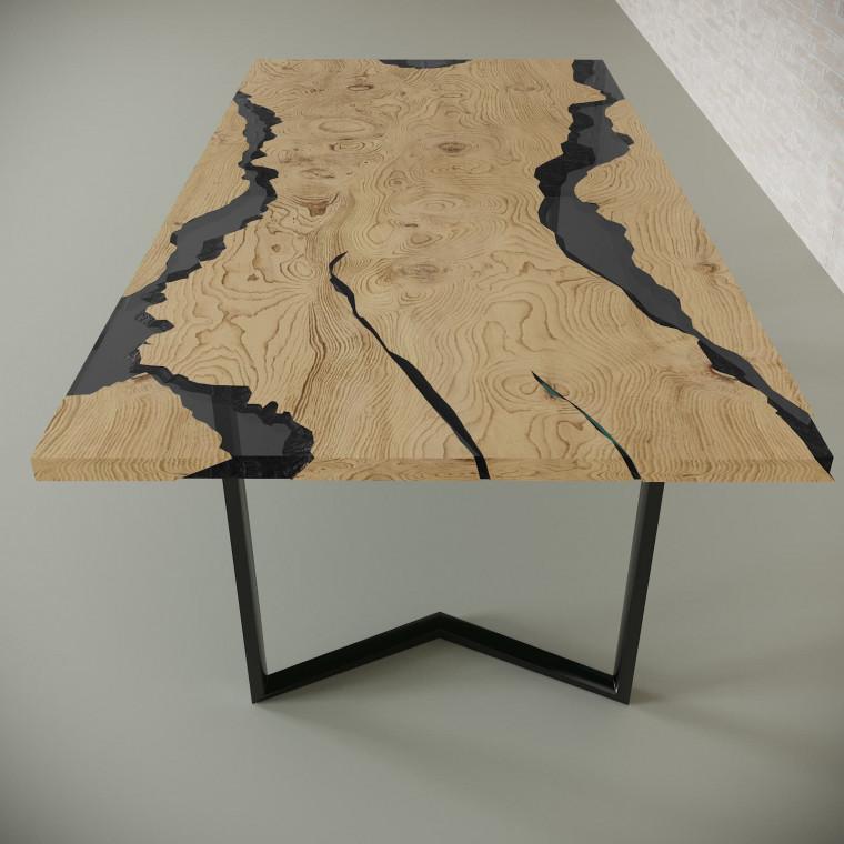 Обеденный стол река из слэбов дуба Callema C10