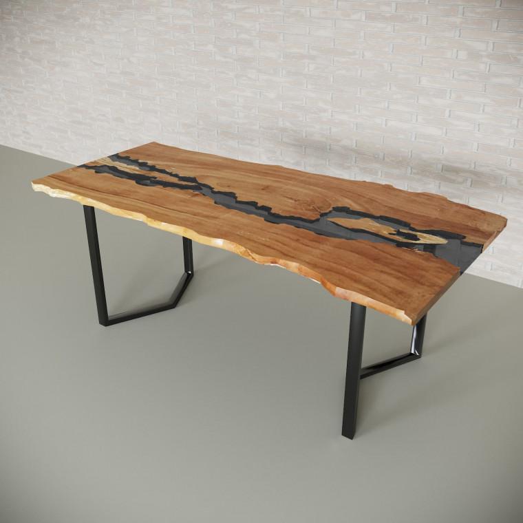 Обеденный стол река из слэбов клена Madria C10