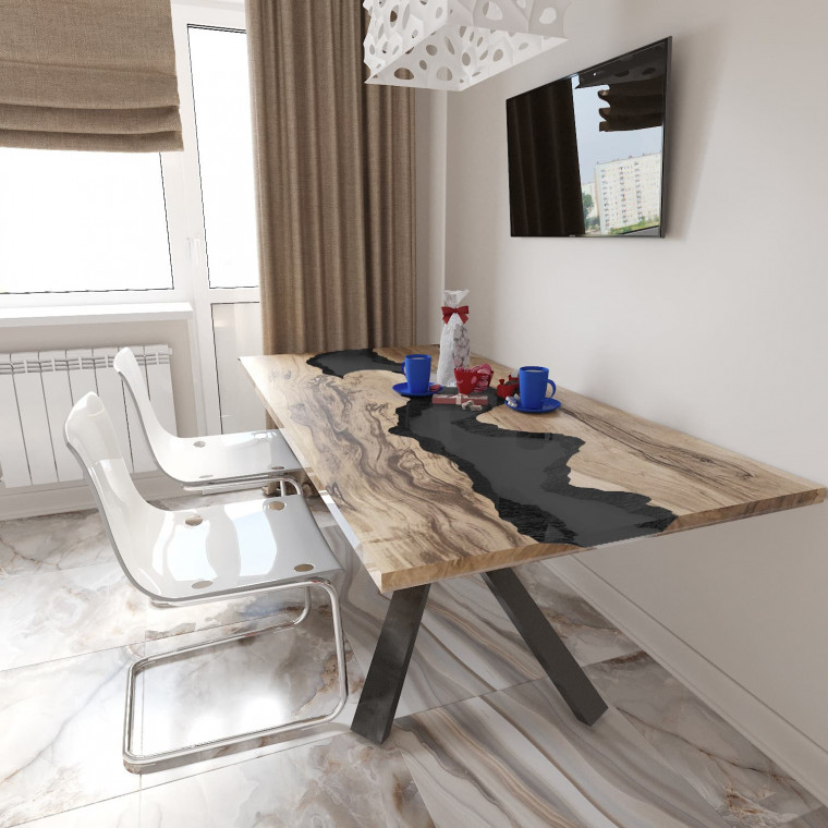 Обеденный стол река из слэбов граба Ivars C10