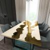 Обеденный стол река из слэбов дуба Argentre C09